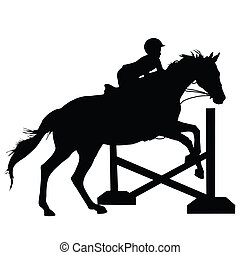 springt, paarde, silhouette