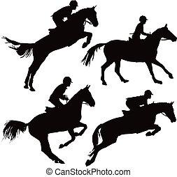 springt, paarden, met, passagiers