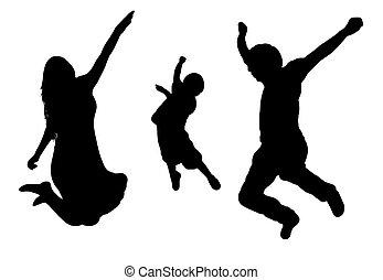 springt, silhouette, gezin