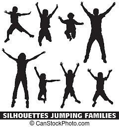 springt, silhouette, gezin, vrolijke