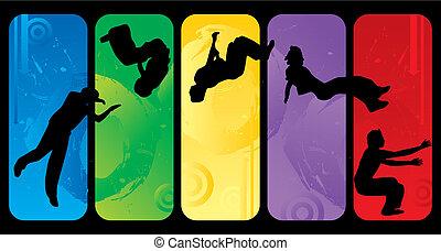 springt, silhouettes