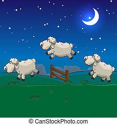 springt, sleep., drie, hen, tellen, schaap, op, fence.