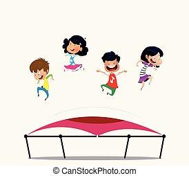 springt, spotprent, trampoline., kinderen