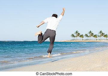 springt, strand, man