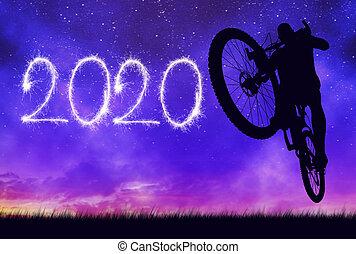 springt, voorwaarts, bicycle., fietser, 2020., jaarwisseling