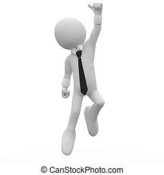 springt, vreugde, zakenman