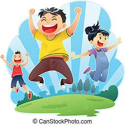 springt, vrolijke