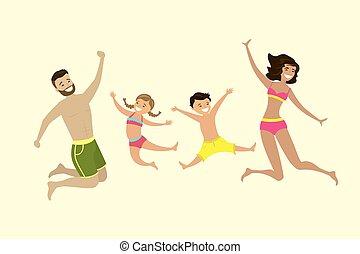 springt, vrolijke , kaukasische familie, badkleding