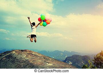 springt, vrouw, jonge, aziaat