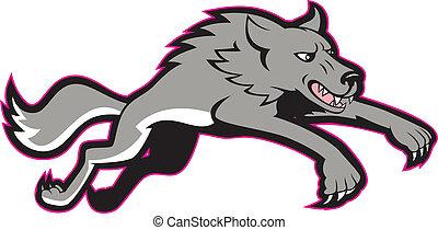 springt, wolf, grijs