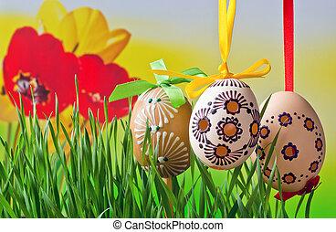 springtime., 蛋, 復活節, 草地