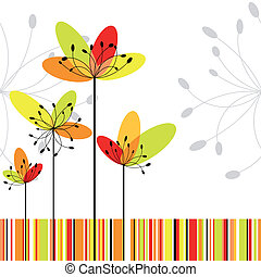 Springtime abstract flower on colorful stripe background -...