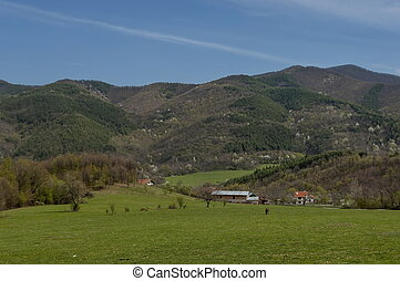 Part of Pravets (Pravetz) Municipality in central western Bulgaria, springtime Balkan mountain and fresh fields.
