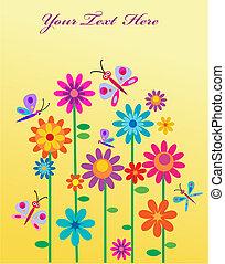 springtime, blomster, og, sommerfugle, hos, en, sted, by, din, tekst