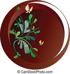 springtime, blomster, og, sommerfugle, på, brun baggrund, vektor, illustration