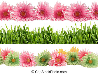 Springtime bloom borders - Set of three different borders of...