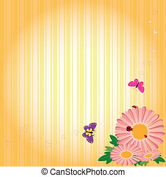 &, springtime, borboletas, fundo amarelo, flores, listra