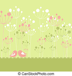 Springtime colorful birds green floral greeting card