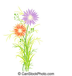 Springtime Colorful Flower Greeting Card Background