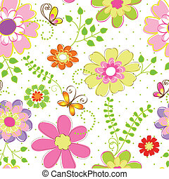 Springtime colorful flower seamless pattern