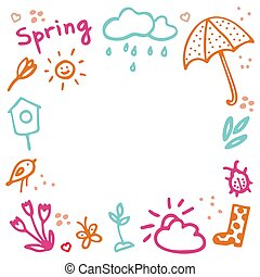 Springtime doodles frame. Vector design elements set with inscription Spring, birdhouse, flower, butterfly, bug, rainy cloud, sun, sprout, hearts, umbrella, gumboot