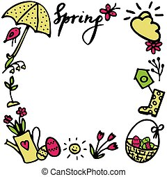 Springtime doodles frame. Vector design elements set with inscription Spring, birdhouse, flower, butterfly, sun, sprout, umbrella, gumboots, flowerpot, easter eggs in basket, bird