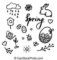 Springtime doodles. Vector design elements set with inscription Spring, birdhouse, flower, bug, rainy cloud, sun, easter eggs in a basket, sprout, teapot, easter eggs and hearts