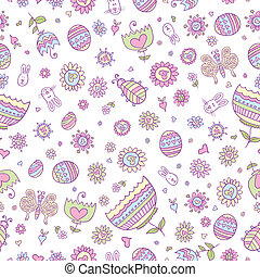 Easter Doodle Seamless Pattern