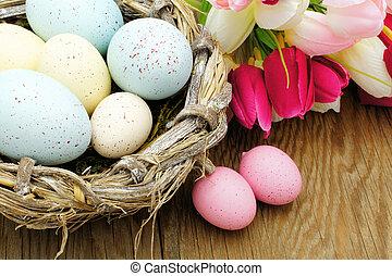 Springtime Easter nest close up