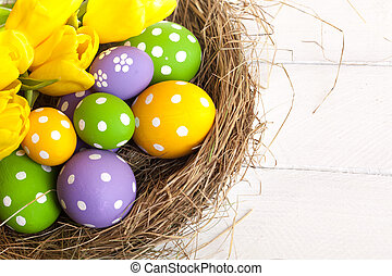 Springtime Easter nest with eggs