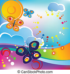 Springtime feeling; butterflies and clouds, circles