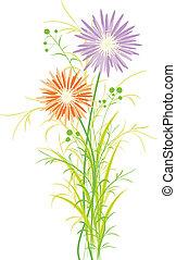 springtime, flor, coloridos, cartão, saudação