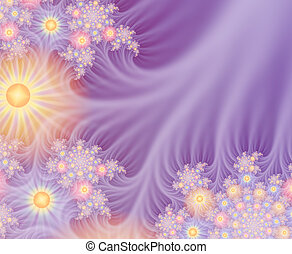Several layers of fractals were combined to create this delicate image, suggestive of spun gossamer flowers in radiant spring sunshine.