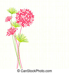 Springtime Hydrangea Flower on Green Background