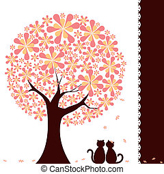Springtime flower tree with love cats - Abstract springtime ...
