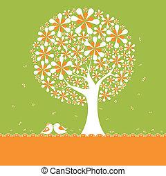Springtime flower tree with lovebirds