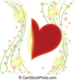 Springtime flower with red heart greeting card