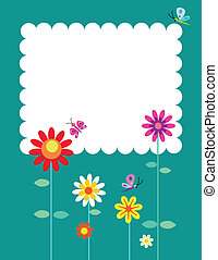 Springtime flowers and butterflies, vector illustration
