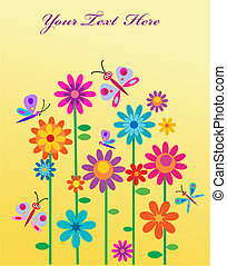 Springtime flowers & butterflies with a place for your  text