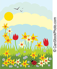 hand drawn illustration of tulips daffodils lady bug and grass under a sunny sky