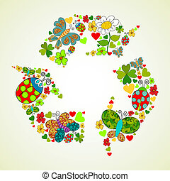 Springtime green recycle icon