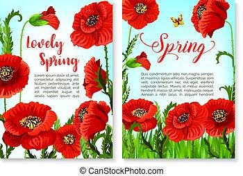 Springtime holidays poster with poppy flower