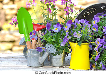 gardening accessories among flowers on garden table