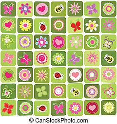 springtime, mønster, abstrakt, seamless, baggrund