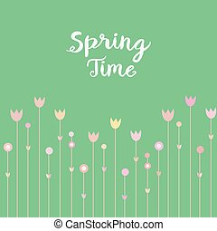 Springtime pink flowers on mint green background. Simple and cure card design, vector illustration