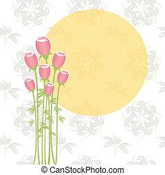 Springtime pink rose flowers on seamless pattern background