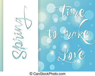Springtime poster, greeting card, time to love, vector