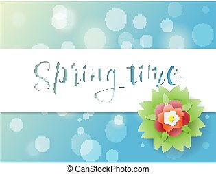 Springtime poster, greeting card with sun sparks and beautiful flower with blue background design, vector illustration