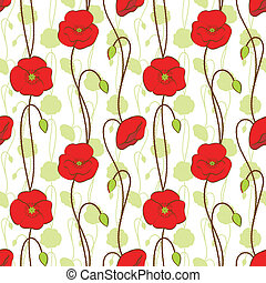 Springtime red poppy flower seamless pattern