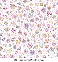 Springtime Seamless Pattern Vector